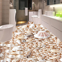 JIASHEMIJU Custom European Luxury 3D Floor Wallpaper Pearl Shell PVC Self Adhesive Floor Sticker Bathroom Kitchen Home Decor