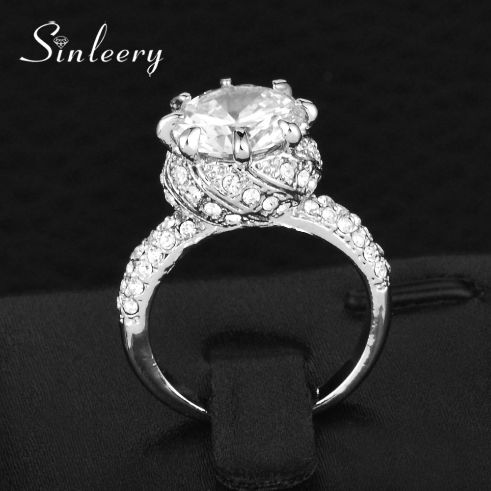 SINLEERY Luxury Round Cut Cubic Zirconia Crystal Princess Ring Yellow White Gold Color Women Wedding Engagement