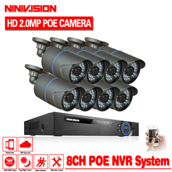 NINIVISION 48V 8-kanałowy zestaw PoE system nadzoru kamera PoE 1080P system cctv 8 sztuk 1080P PoE kamera IP 8CH PoE nvr zestaw