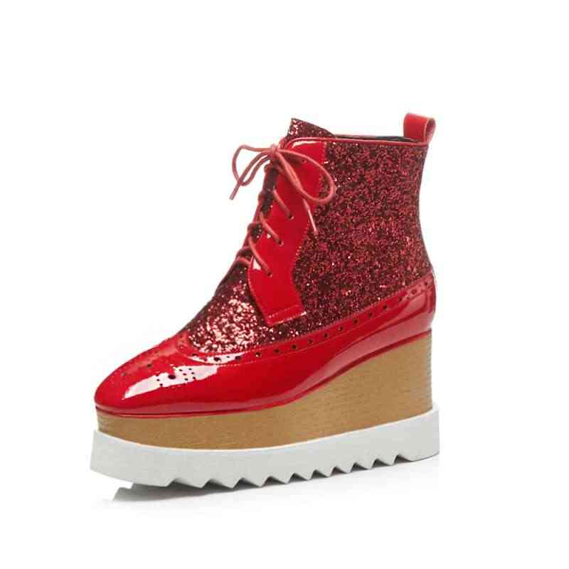Vichelo Heißer plus größe pailletten material spitze up keile high heels punk Europäischen stil karree handsomen mädchen stiefeletten l55