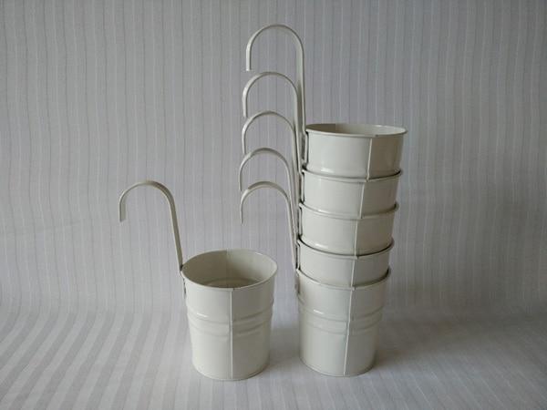 10pcs Lot Whole White Hanging Pots Iron Basket Flower Pot For Art Home Decoration
