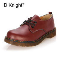 Women Genuine Leather Oxfords Fashion Round Toe Lace Up Flat Oxford Shoes For Women Vintage Cow Leather England Women Oxfords
