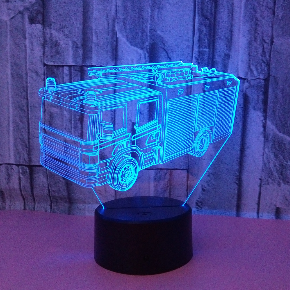 Fire Engine 3D Modelling Table Lamp 7 Colors Changing Fire Truck Car Night Light USB Sleep Light Fixture Bedroom Decor Kids Gift
