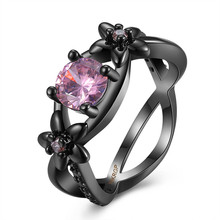 Fashion Jewelry Black Gold Filled Engagement Ring With Pink Crystal Ladies Finger Rings June Birthstone Ring Jewelry
