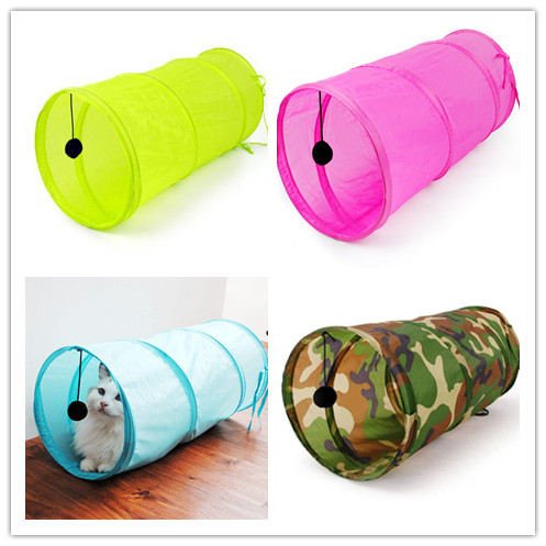 Fre e shippingPetCat Play Tunnel Camouflage Color Funny Cat Long Tunnel Kitten Play Toy Collapsible Bulk Cat Toys PlayTunnel