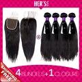 Перуанский девственные волосы прямые 4 связки с закрытием, Перуанский девственные волосы утка с закрытием, Человеческих волос пучки с закрытие