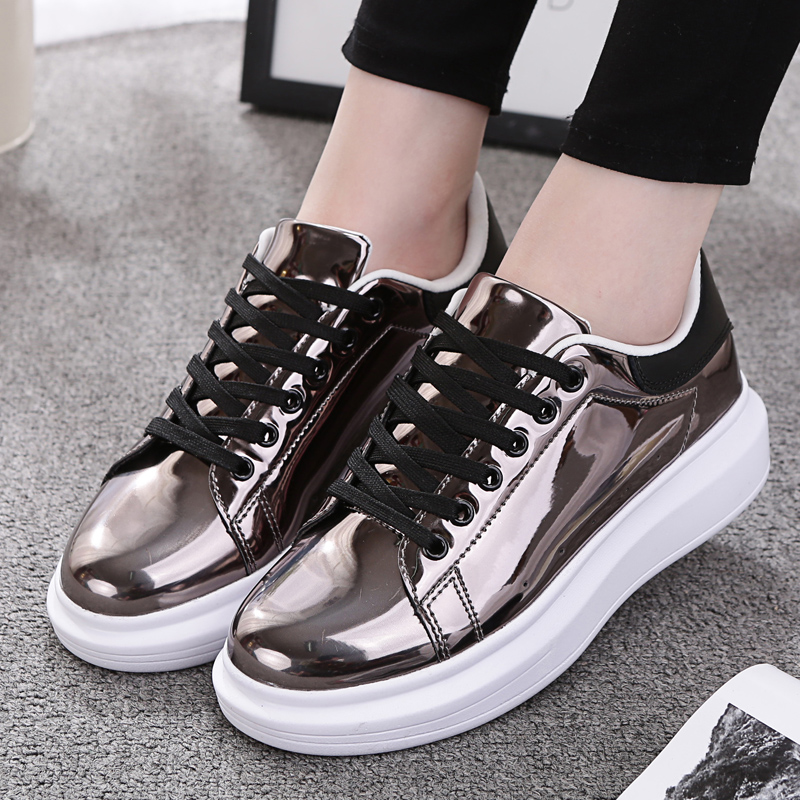 Patent Leather Creepers Platform Shoes Woman 2017 Casual Loafers Gold Silver Flats Lace-Up Women Shoes Chaussure Femme phyanic 2017 gladiator sandals gold silver shoes woman summer platform wedges glitters creepers casual women shoes phy3323