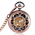 Luxury Skeleton Sun Flower Copper Mehcnaical Automatic Pocket Watch Black Roman Numbers Dial Fob Clock Unisex Gift