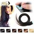 Cinta en la extensión del pelo humano barato 20 unids/lote dibujado doble extensión cinta del pelo brasileño de la virgen del Pelo de la Cinta envío libre
