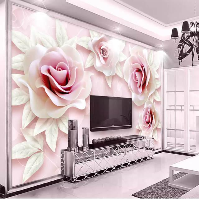 Wallpaper Ruang Keluarga Sederhana  kustom lukisan dinding wallpaper segar sederhana 3d timbul berwarna merah muda merah muda rose seni lukisan dinding ruang tamu kamar tidur tv latar