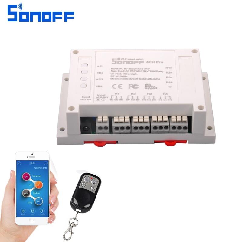 Sonoff 4CH Pro Smart Home RF Wifi Light Switch 4 Gang Working Modes Inching Interlock Self-locking Wifi Switch Work With Alexa