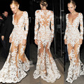 Sexy Beyonce Dress Real Picture Long Sleeve White Lace Gown Mermaid Party Dresses Vestido De Noche Vestido De Renda C1442