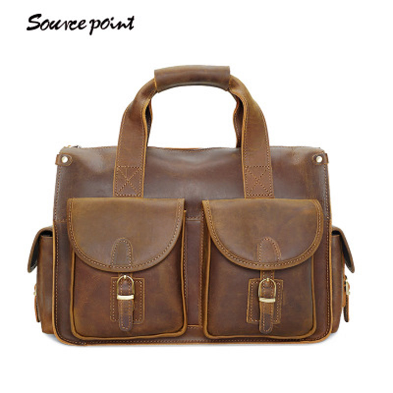 YISHEN Vintage Crazy Horse Leather Men Laptop Messenger Bags Male Handbags Casual Fashion Men Shoulder Crossbody Bags YD-8045#