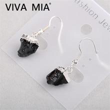 Fluorite Earrings Pendant Obsidian Studs Earring Natural Ammetist Jewelry Female Irregular Amethysts