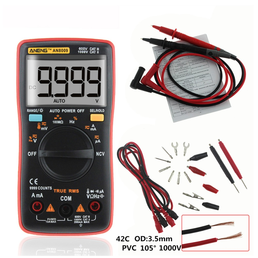 AN8009 True RMS Auto Range Digital Multimeter NCV Ohmmeter AC DC Voltage Ammeter Current Meter Temperature