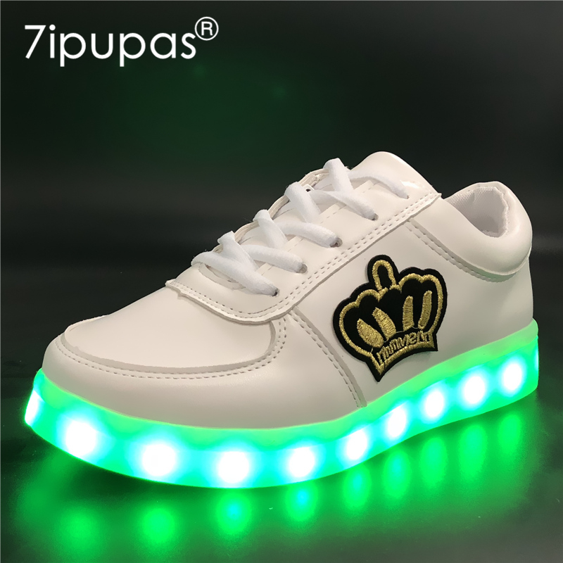 7ipupas EUR 30-44 Krasovki Luminous Sneaker For Boy&Girl Gold crown Kid Shoe Glowing Sneaker Light Up Charging Led Children Shoe