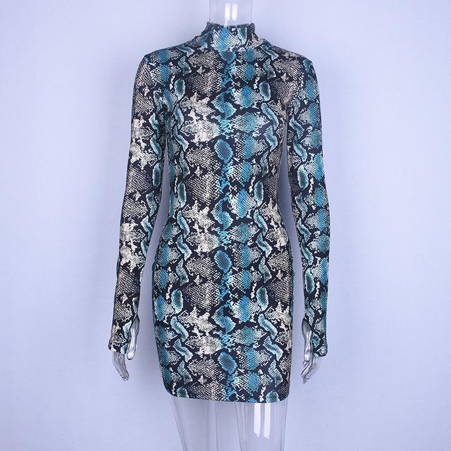 Blue bodycon snake print mini dress