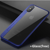 Clear Case With Red Black Blue Metaline For Apple Iphone 8 TPU PC Glass Free Transparent