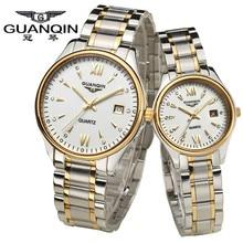 De alta Calidad de la Marca de Lujo Guanqin Relojes de Zafiro Ama Relojes Parejas Impermeable Reloj Par Quartzwatches para Las Parejas de Enamorados