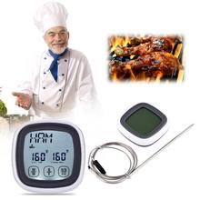 BBQ Oven Touch Screen Cooking Thermometer Timer Stainless Steel Probe Digital Kitchen Meat Thermometer Countdown Time