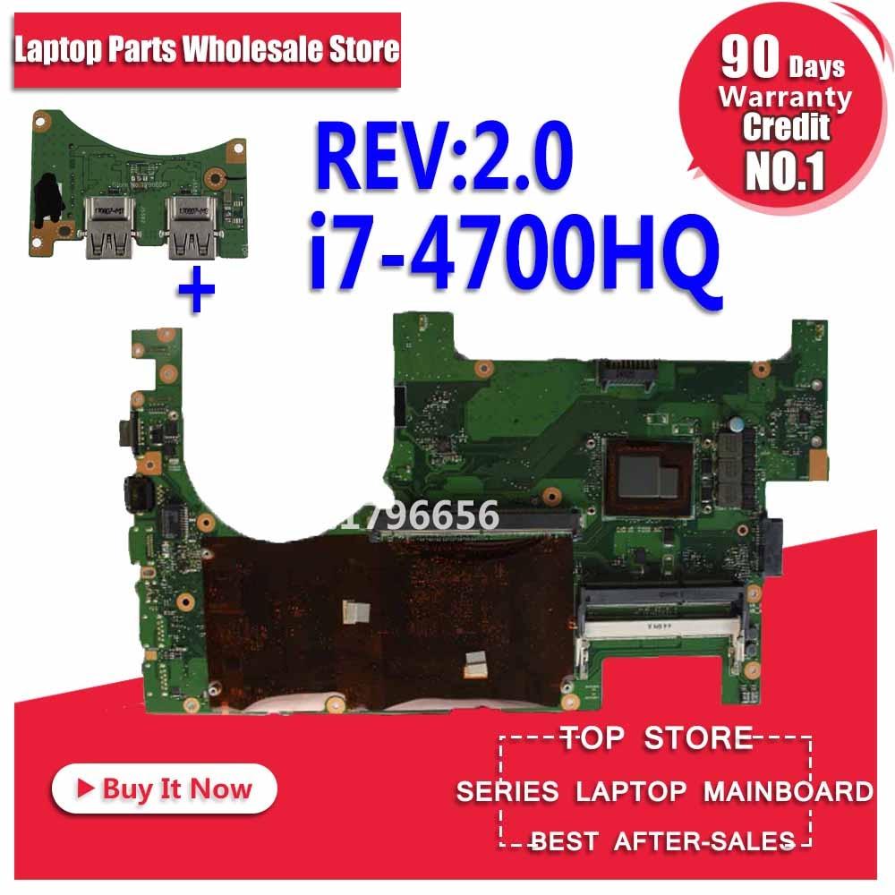 Send Board + For ASUS G750JZ Laptop Motherboard G750JZ G750J G750JX REV2.0 Mainboard Processor I7-4700HQ DDR3L 100% Tested