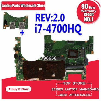 цена на Send board + For ASUS G750JZ Laptop motherboard G750JZ G750J G750JX REV2.0 Mainboard Processor i7-4700HQ DDR3L 100% tested