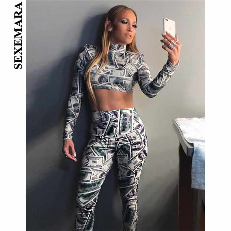c9fe860e8c9e Detail Feedback Questions about BOOFEENAA Dollar Print Club Sexy Two Piece  Set Crop Top and Pants Turtleneck Long Sleeve Tracksuit Winter Sets Ladies  C54 ...
