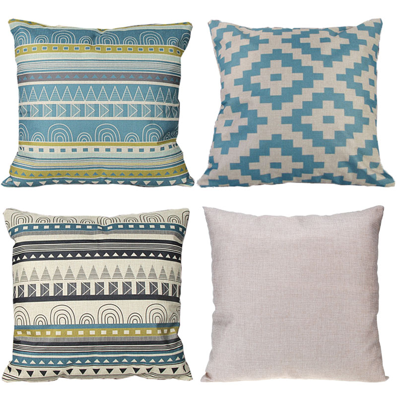45*45cm Retro pattern Cotton Linen Cushion cover Striped Car throw pillow covers Decorative Cushion cover for sofa bedding Home