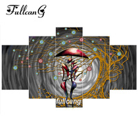 FULLCANG Abstract Lover 5pcs Diamond Painting Cross Stitch Multi Picture Diamond Embroidery Diy 5D Square Mosaic