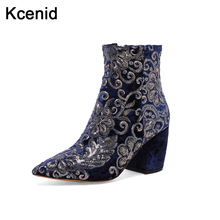 Women's Floral Boots pointed toe shoes woman embroider winter boots