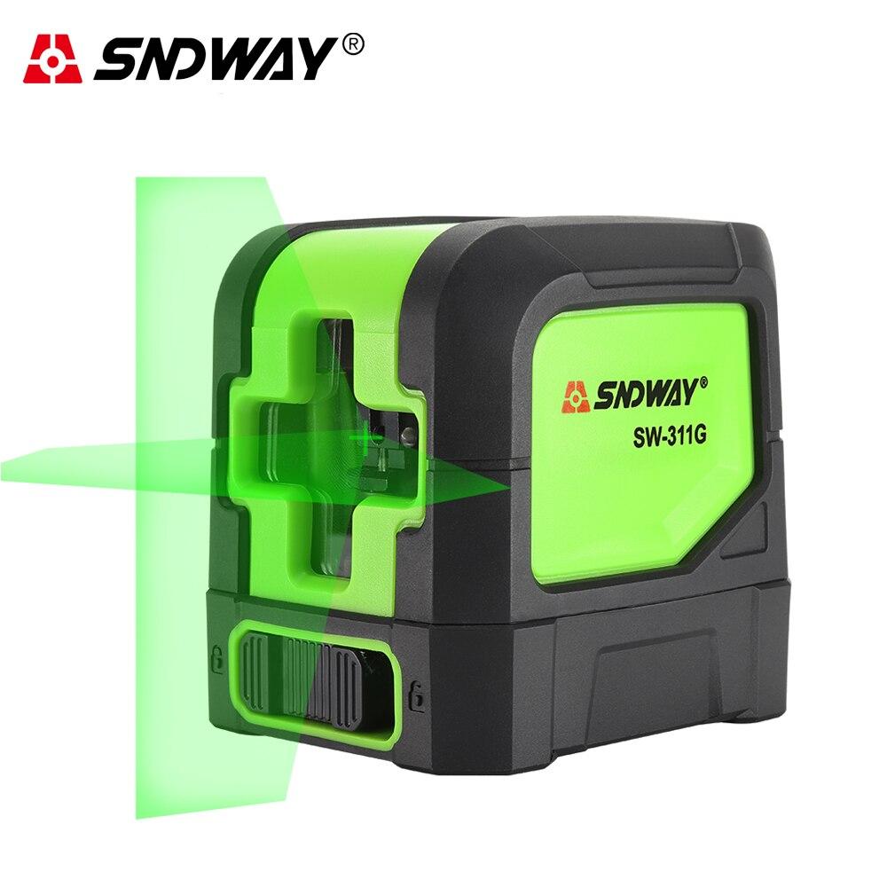 Sndway Laser Nível Verde/red Laser Beam 2 Linhas Verticais Horizontal Auto-nivelamento Cruz Laser Nível de Linha de Mini Nivelador