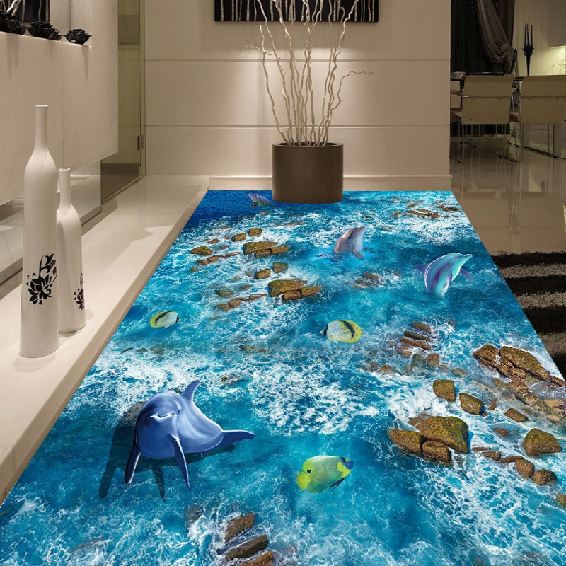 Free Shipping HD running water floating dolphins 3D floor painting study office bedroom non-slip Floor wallpaper mural free shipping beach spray 3d dolphin sea floor non slip living room wallpaper office decoration studio wallpaper mural