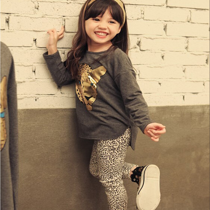 2016 New Spring Autumn Girls Clothing Sets Baby Kids Clothes Children Clothing Full Sleeve T Shirt Leopard Leggings 2pc Set 2016 new spring autumn children boys girls clothing sets clothes star tops t shirt leggings pants baby kids 2 pcs suit