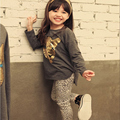 2016 New Spring Autumn Girls Clothing Sets Baby Kids Clothes Children Clothing Full Sleeve T Shirt Leopard Leggings 2pc Set