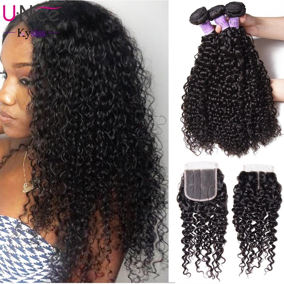 UNice Hair Kysiss Series Peruvian Kinky Curly Hair Weave 3 Bundles With Closure 100 Human Hair