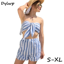 Two Piece Set Women Blue Striped Tube Top And Mini Shorts Casual Summer Clothes for Women Tracksuit Fashion Vintage Print Outfit цена 2017
