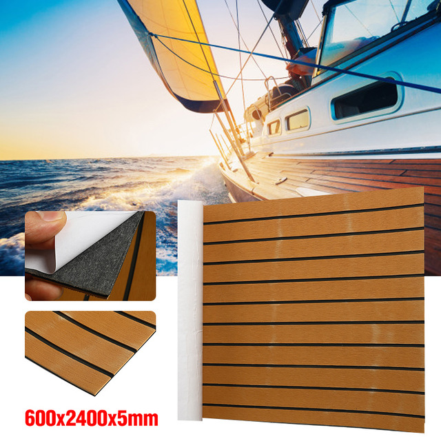 240cmx60cm Self Adhesive Foam Teak Boat Decking EVA Foam Marine Flooring Faux Yacht Marine Decking Sheet