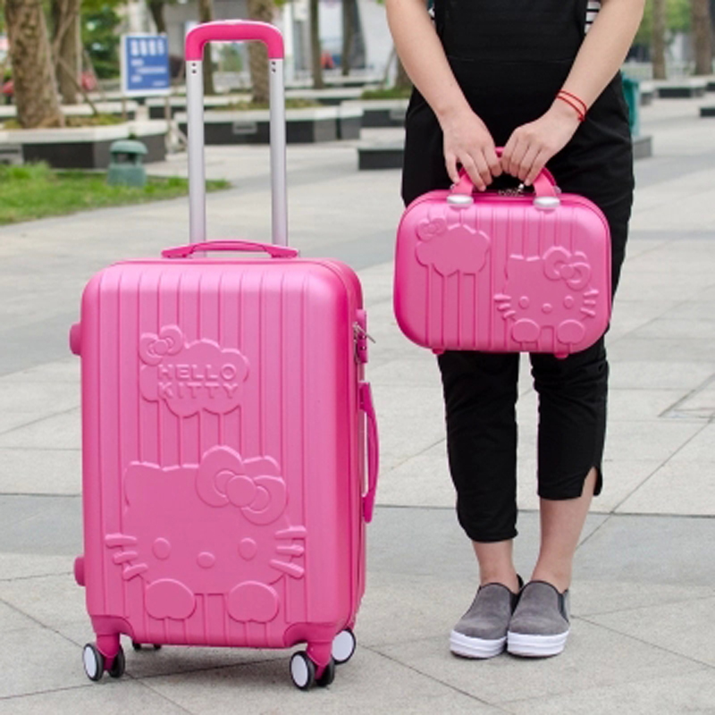 14+20,24Inch Hello Kitty Suitcase,trolley Travel Bag Set,Spinner Rolling Luggage Sets,ABS,Cartoon,Travel bags women lovely hello kitty luggage children trolley travel bag 18 inch cartoon kids suitcases hello kitty bag for girls