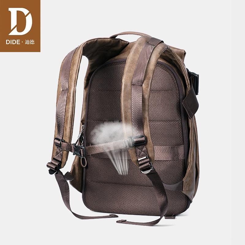 DIDE mochila de gran capacidad de viaje USB de carga impermeable mochila de ordenador portátil de cuero PU bolsa de escuela informal de moda para hombres-in Mochilas from Maletas y bolsas    3