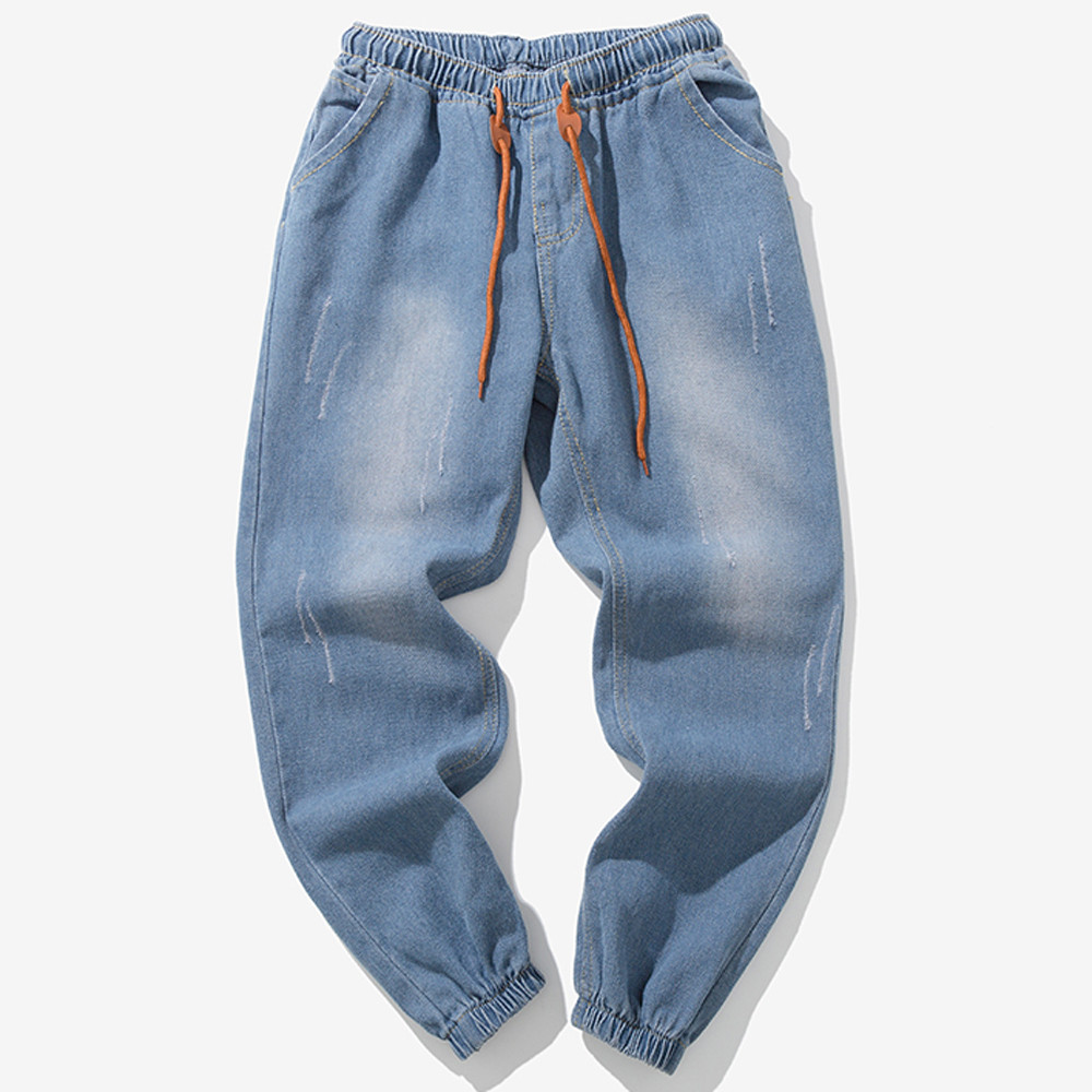 Men's Casual Autumn Denim Cotton Vintage Wash Hip Hop Work Trousers   Jeans   Pants W313