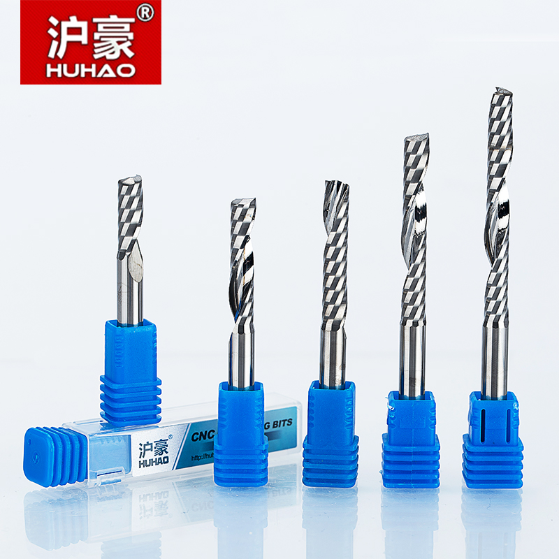 HUHAO 1pc 6mm Single Flute Spiral Cutter 3A TOP Quality CNC Router bits for wood Acrylic PVC MDF End Mill Carbide Milling Cutter  huhao 1pc 6mm one flute spiral engrving bits cnc end mill tungsten carbide router tool pcb milling cutter router bits for wood