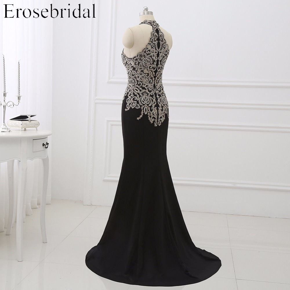 Image 3 - 2019 Black Mermaid Evening Dress Plus Size Erosebridal Gold Appliques Bodice Formal Women Party Gowns Halter Dresses ZDH04-in Evening Dresses from Weddings & Events