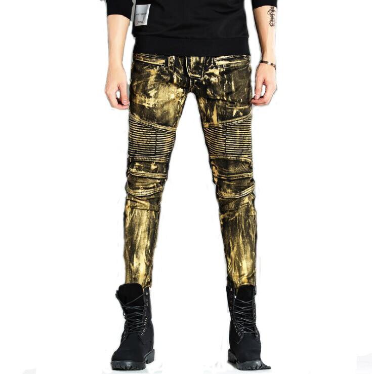 #1513 Skinny jeans men 2017 Fashion Mens biker jeans Coated Slim fit Fake designer clothes Hip hop jeans Jogger Moto jeans men