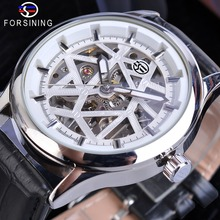 Forsining Luxury Brand Fashion Mechanical Watches Leather Strap Mens White Hand Winding Skeleton Silver Case Clock Reloj Hombre