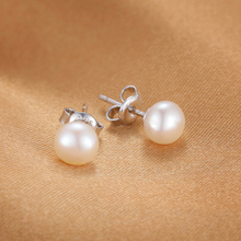 JewelryPalace Fashion 6-10mm Freshwater Cultured Pearl Button Ball Stud Earrings 925 Sterling Silver 2016 Fine Jewelry For Women