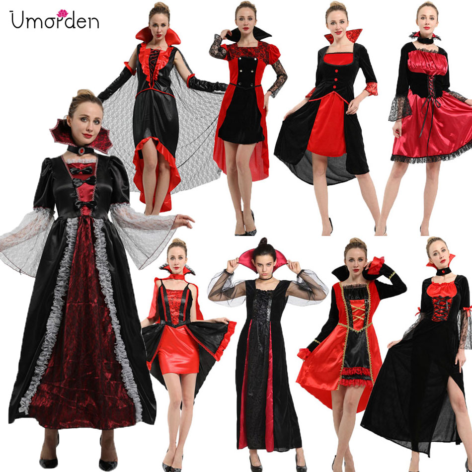 Umorden Purim Party <font><b>Halloween</b></font> <font><b>Vampire</b></font> <font><b>Costumes</b></font> for Women Adult <font><b>Sexy</b></font> Noble Elegant <font><b>Vampire</b></font> <font><b>Costume</b></font> Cosplay Dress Robe Collection image