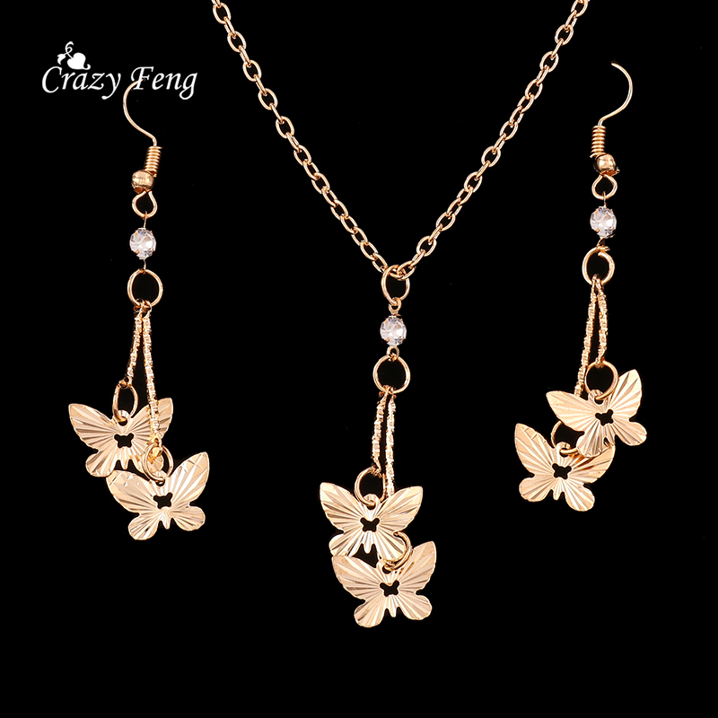New Butterfly Women 39 S Fashion Jewelry Set Necklace Earrings Gold Color Wholesale Wedding Jewelry