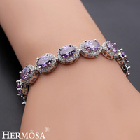 Hermosa Jewelry Fine Unique Fashion Purple 925 Sterling Silver Bracelets 7 inch BK002