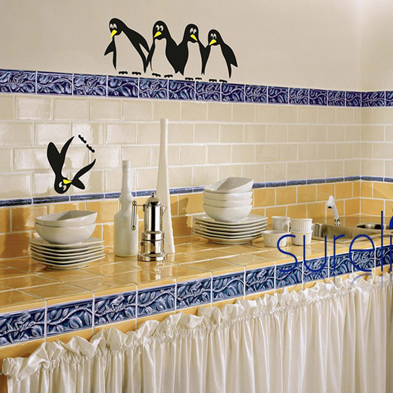 New 2017 Creative Penguin Vinyl Wall Stickers Removable Art Decals Wallpaper For Refrigerator Kitchen Bathroom Home Decoration