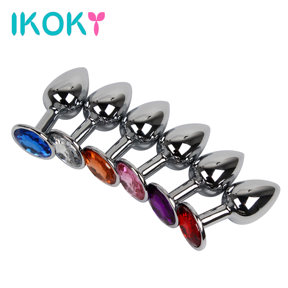 Ikoky 6 Colors Metal Anal Sex Toys For Women Men Anal Butt Plugs Crystal Jewelry Booty Beads Anal Tube Sex Products Erotic
